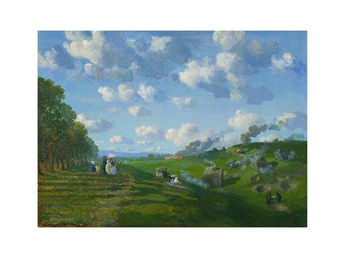 """Pigmentdruck: """"Panzerschlacht bei Fontaine Bleau"""" von Michael Sowa"""