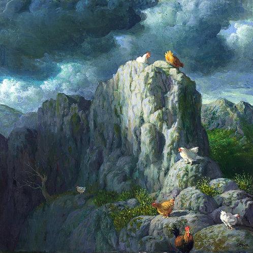 Original: Berghühner vor aufziehendem Sturm von Michael Sowa