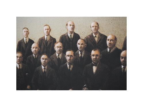 """Pigmentdruck: """"Vater dritter von links"""" von Michael Sowa"""
