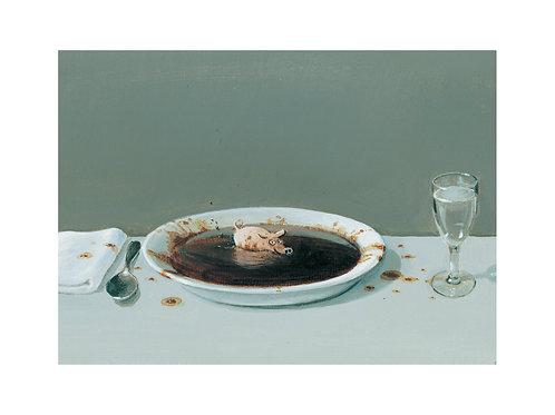 """Pigmentdruck: """"Suppenschwein"""" von Michael Sowa"""