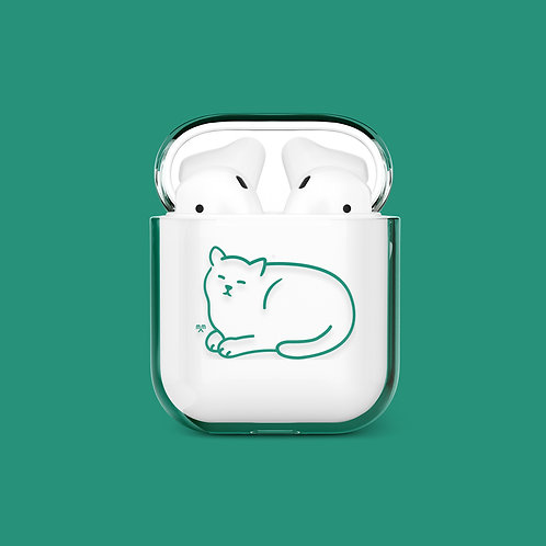 Happy Moments Cat Airpods Case (green)