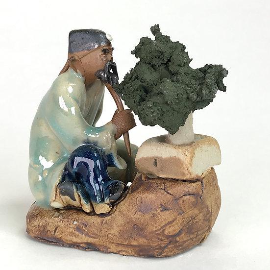Bonsaika vert-bleu de 6 cm de hauteur FIGURINE en terre cuite