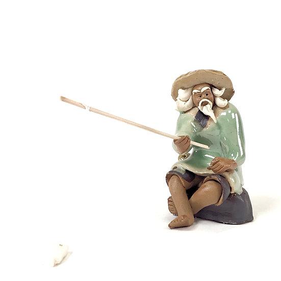 """""""Pêcheur Vert"""" 6 cm de hauteur Terre cuite"""