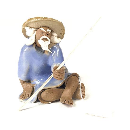 """FIGURINE """"Pêcheur Bleu"""" 4,5 cm de hauteur Terre cuite"""