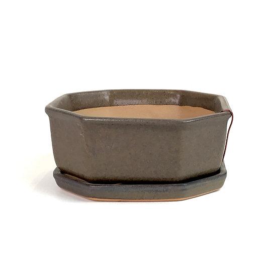 12 x12 x 5 cm Céramique artisanale unique marron Rèf12125C inclus soucoupe