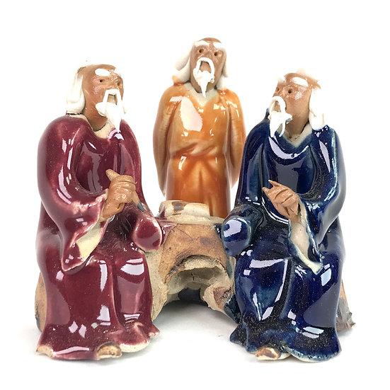 Trio Rouge / Orange / Bleu émaillé 'Peinture' de 7 cm de hauteur FIGURINE