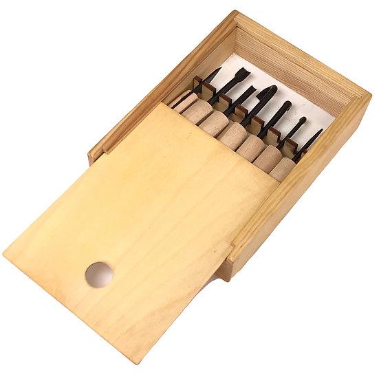 GOUGES / CISEAUX Box bois de 7 outils à sculpter le bois 130-155 mm
