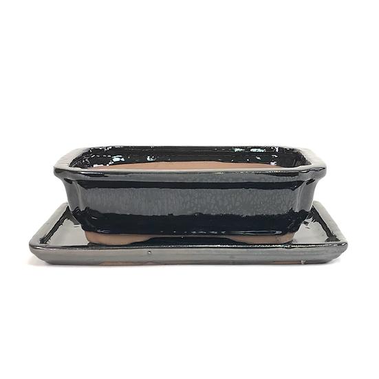 21 x 16 x 6 cm Noir inclus soucoupe   W09