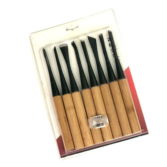 GOUGE Lot de 8 outils à sculpter le bois 200-205 mm RYUGA