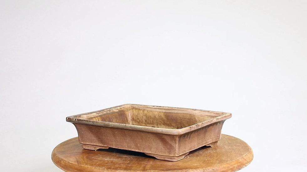 22 x 18 x 5 cm Céramique artisanale unique marron rose R361A