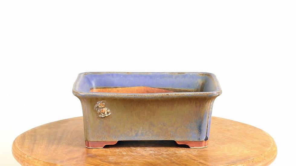 18 x 15 x 7 cm Céramique unique marron bleu chat en relief