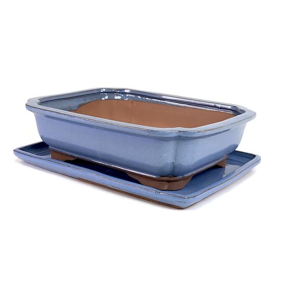 27 x 21 x 7 cm bleu inclus soucoupe