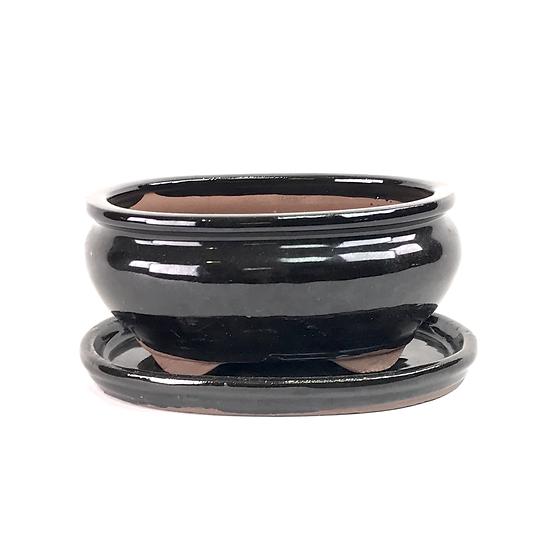16 x 13 x 7 cm Noir inclus soucoupe