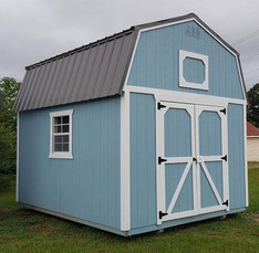 Blue Lofted Barn with Metal Roof