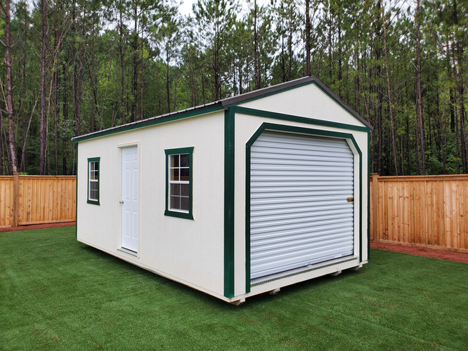 Portable Garage, White with Green Trim