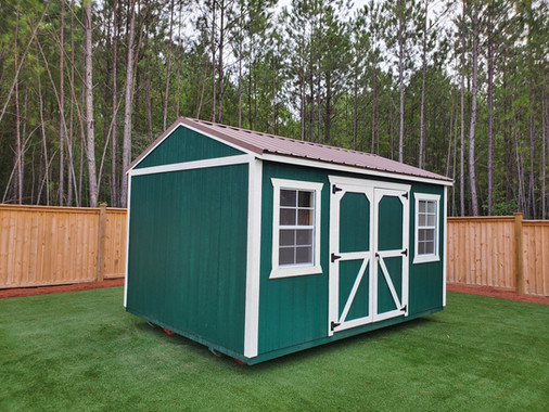 Garden Shed, Green with White Trim, Metal Roof