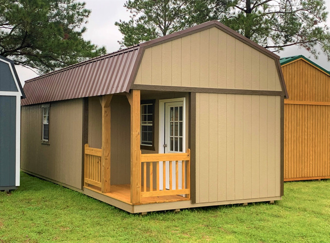 Brown Lofted Barn with Corner Deck