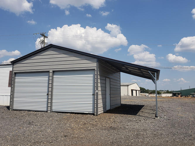 Metal Garage with Rightside Lean to
