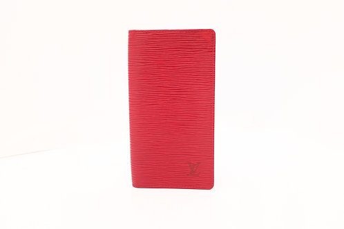 Louis Vuitton Checkbook Cover in Red Epi Leather