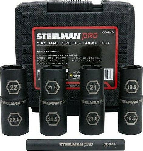 """Steelman Pro 5pc 1/2"""" Half Size Flip Sockets"""