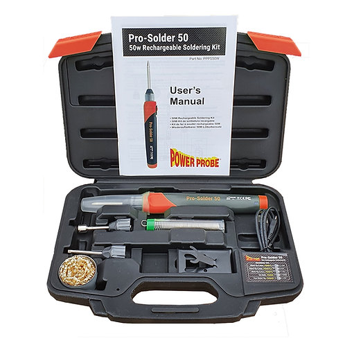 Power Probe Pro-Solder 50 Electric Soldering Iron Kit, Rechargeable