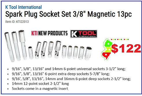 "Spark Plug Socket Set 3/8"" Magnetic 13pc"