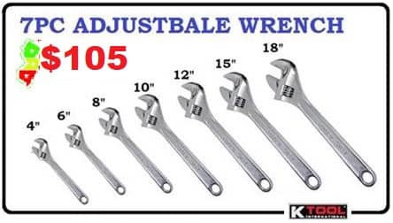 KTool 7pc Adjustable Wrench Set