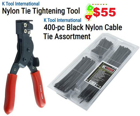 KTool Cable Tie Tightening Tool & Cable Tie Assortment