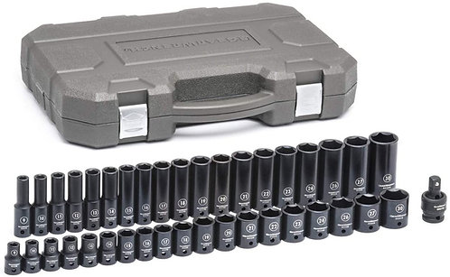 "GEARWRENCH 39 Pc. 1/2"" Drive 6 Point SAE Standard and Deep Impact Socket Set"