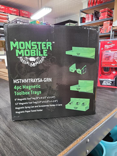 """Monster """"GREEN"""" 4pc Magnetic Toolbox Trays"""