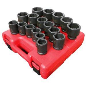 SUNEX 3/4 Drive 17 Piece Metric Standard Impact Socket Set