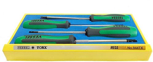 VESSEL 4pc MEGADORA TORX Screwdriver Set