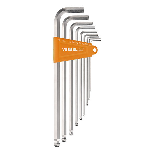 VESSEL Ball Point Hex L-Key Wrench (Long Type) (Inch) 9PC. Set