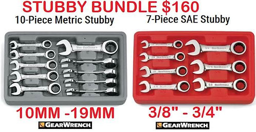 Gearwrench Metric/SAE Ratcheting Stubby Wrench Combo