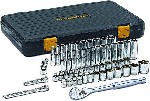 "Gearwrench 56-Pc 3/8"" Drive SAE/Metric 6pt Standard & Deep Socket Set"