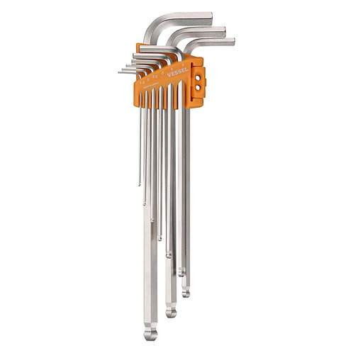 VESSEL Ball Point Hex L-Key Wrench (Long Type) 9PC. Set