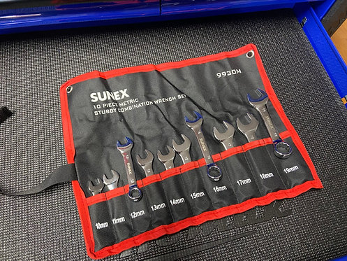 SUNEX 10 Piece Metric Stubby Wrench Set