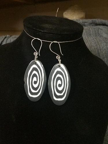 Black and White Swirl Earring