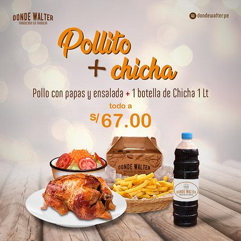 1 Pollo + Chicha 1Lt (Lun a Sáb)