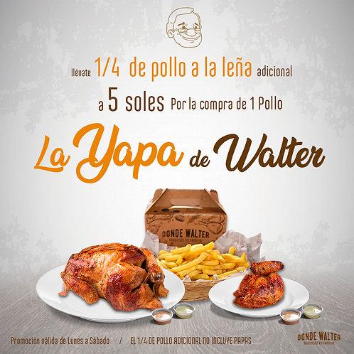 1 pollo + 1/4 Pollo a la Leña (Lun a Sab)