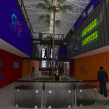 Perspectiva ilustrativa de centro comercial em Containers Marítimos