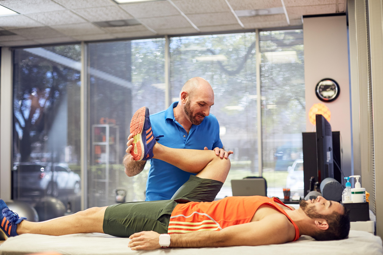 Athletes stretching