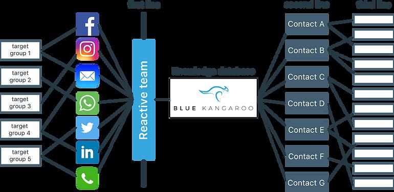 Flowchart voor Blue Kangaroo. Blue Kangaroo houdt als kennis databank en community management tool je communictatie overzichtelijk.