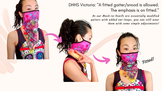 DHHS_ _A fitted gaiter.snood is allowed.