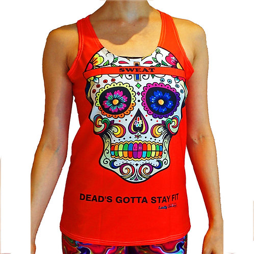 Fit Fab Sugarskull Active Tank (Red)