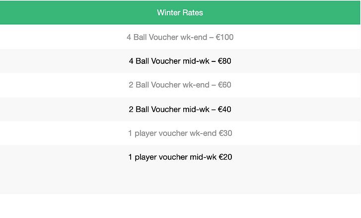 Winter Rates (Gift Voucher)