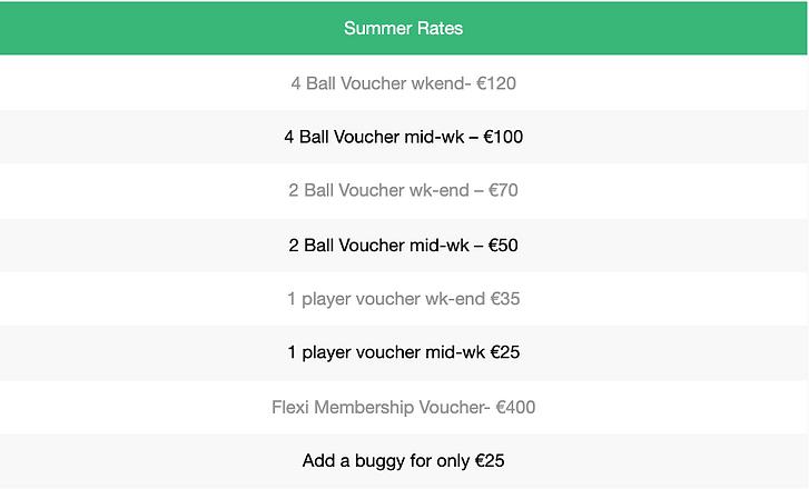Summer Rates (Gift Voucher)