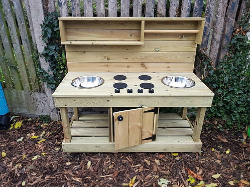 Fully pressure treated, twin bowl mud kitchen with built in 'oven'