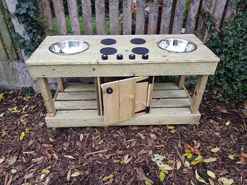 Fully pressure treated, backless twin bowl mud kitchen with built in 'oven'