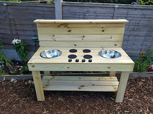 Fully pressure treated double bowl mud kitchen